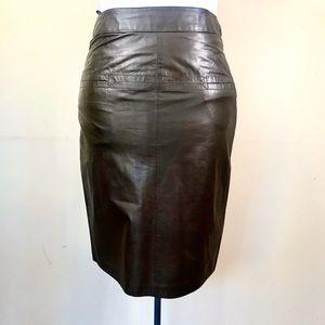 Vintage Pia Ricco Chocolate Brown Leather Skirt